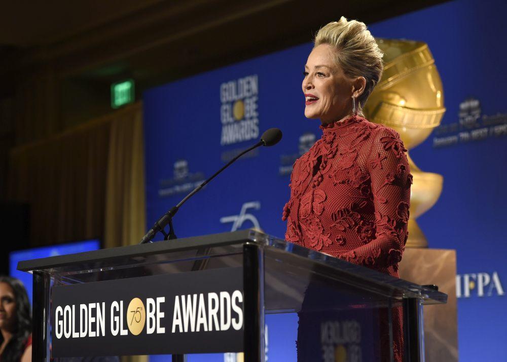 Sharon Stone durante las nominaciones a los Globos de Oro
