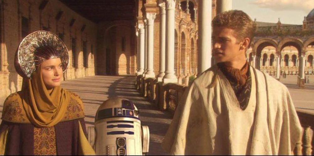 Amidala y Annakin Skywalker en la Plaza de España de Sevilla.