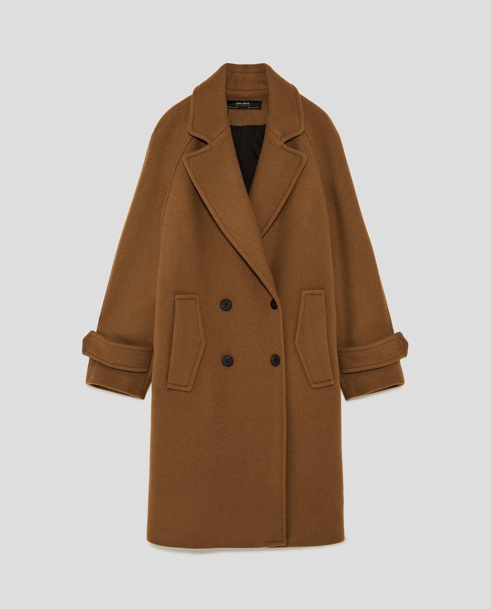 Abrigo largo cruzado de Zara (89,95euros)