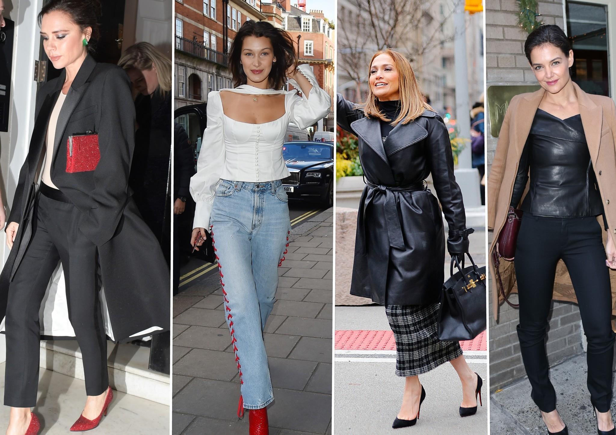 Victoria Beckham, Bella Hadid, Jennifer López y Katie Holmes.