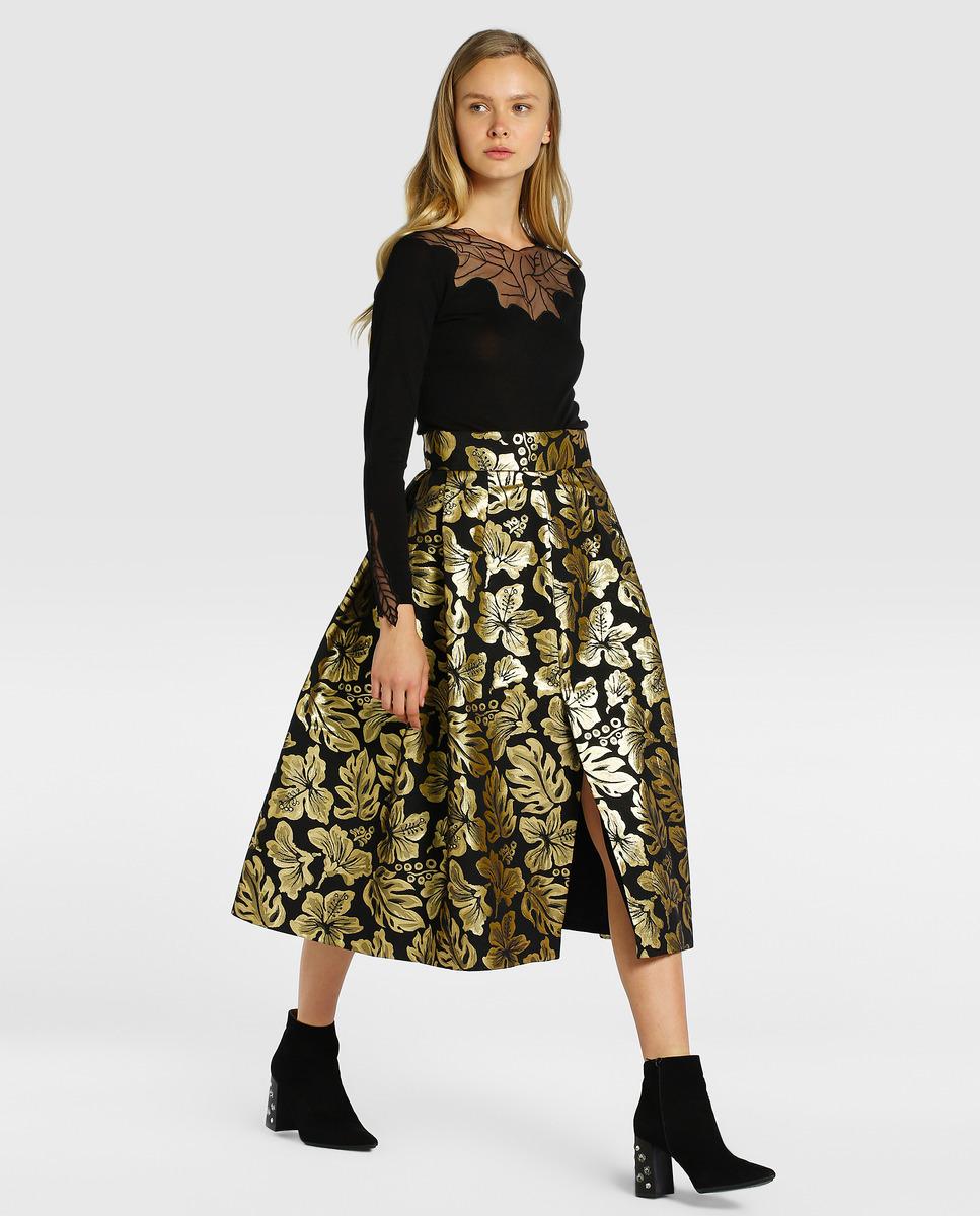 Falda de fiesta con jacquard dorado, de Roberto Verino, disponible en...