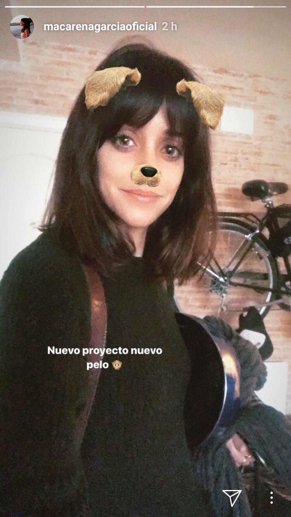 Macarena García con su nuevo look, un long bob con flequillo cortina...