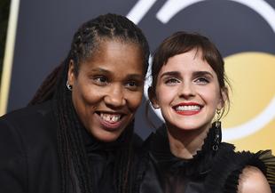 La actriz Emma Watson asistió con Marai Larasi, directora de Imkaan,...