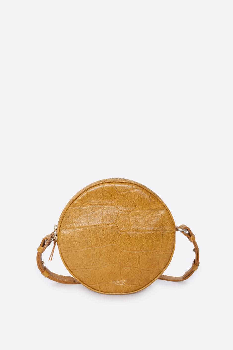 Bolso bandolera circular en piel mostaza, de Sur Sac (de 245 a 208...