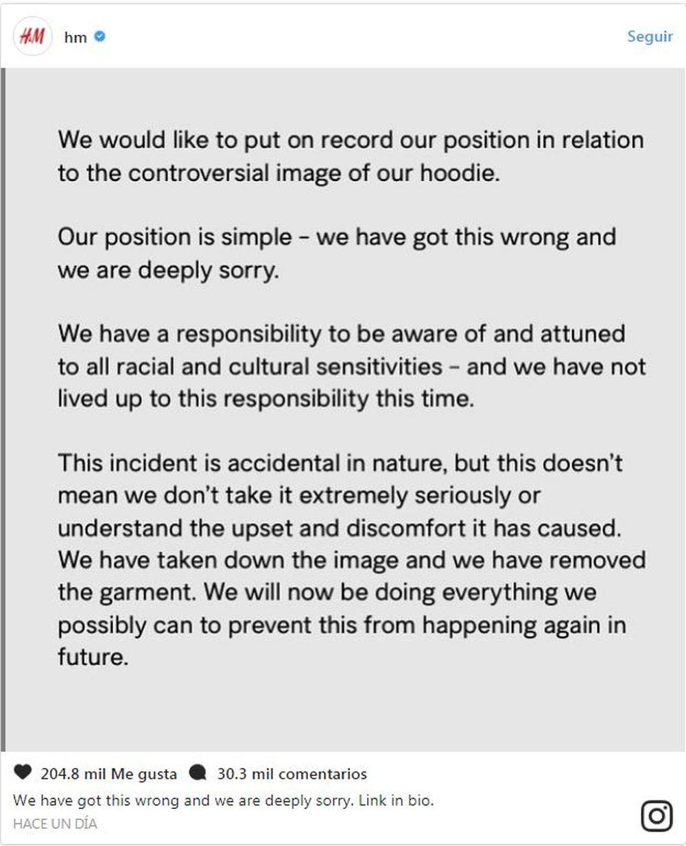 Comunicado oficial pidiendo disculpas