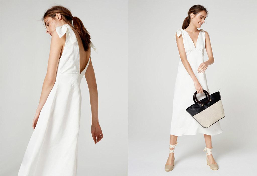 El vestido es un diseño de lino de corte midi con detalle de lazos en...