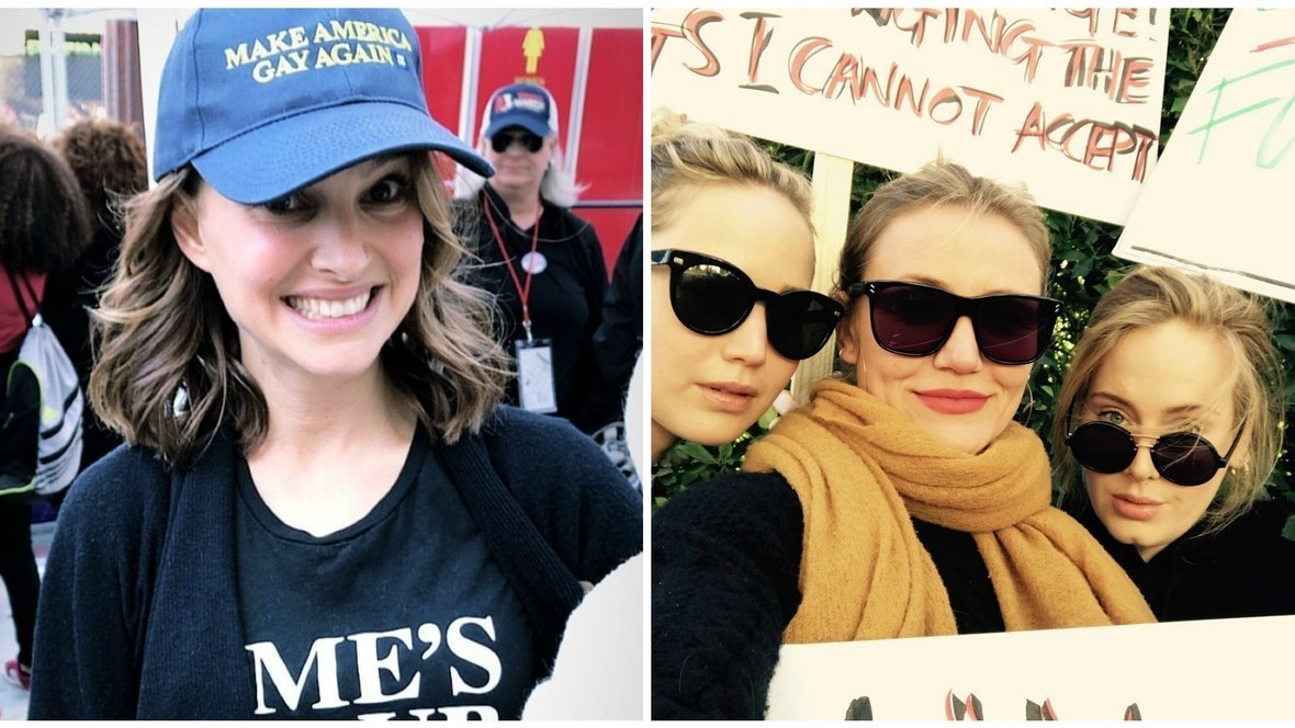 Natalie Portman, Jennifer Lawrence, Cameron Díaz y Adele, durante la...