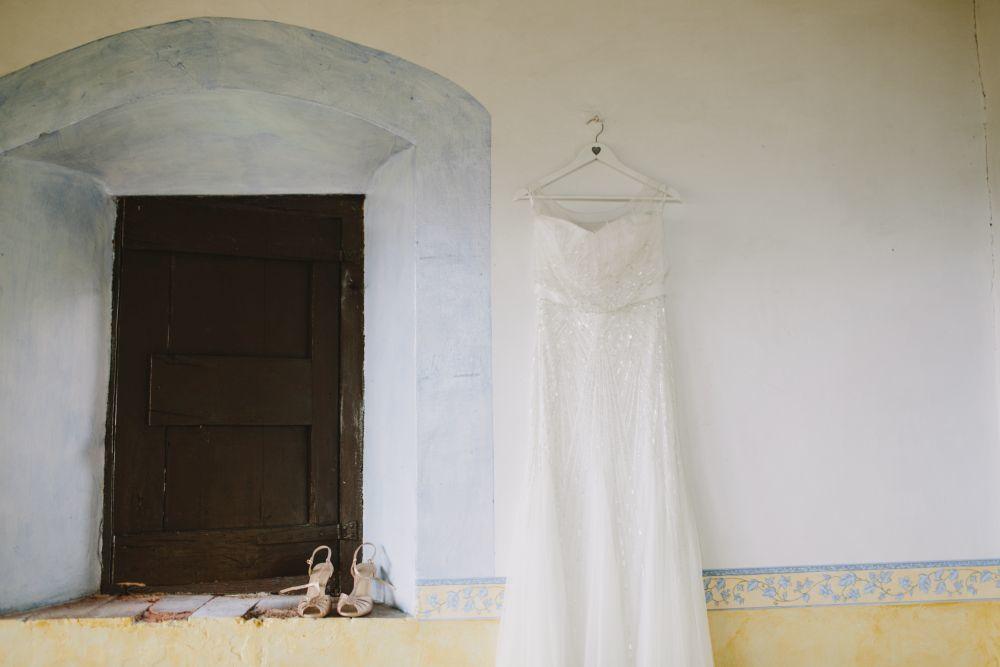 Pamela llevó un vestido de la diseñadora catalana Rosa Clará.