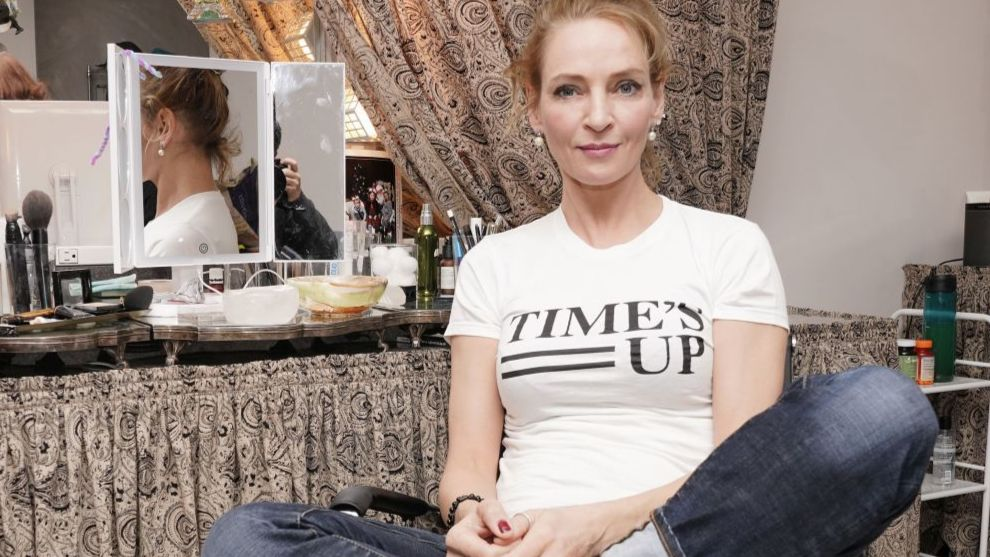 Uma Thurman con la camiseta del movimiento #TimesUp.