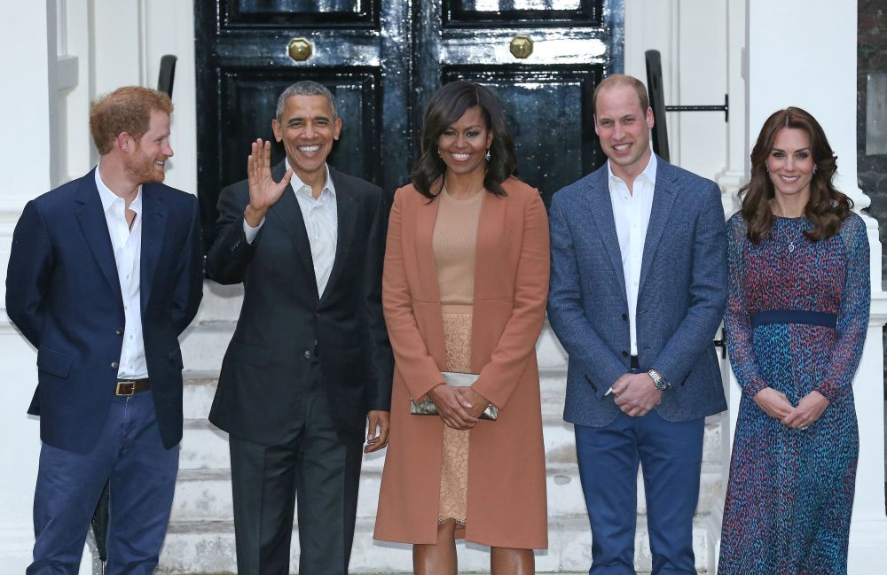 El príncipe Harry y los Duques de Cambridge con Michelle y Barack...