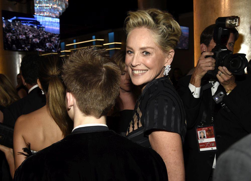 Sharon Stone en los Globos de Oro 2018