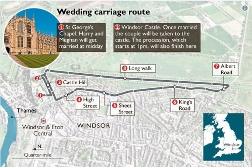 Recorrido nupcial de la boda de Harry y Meghan.