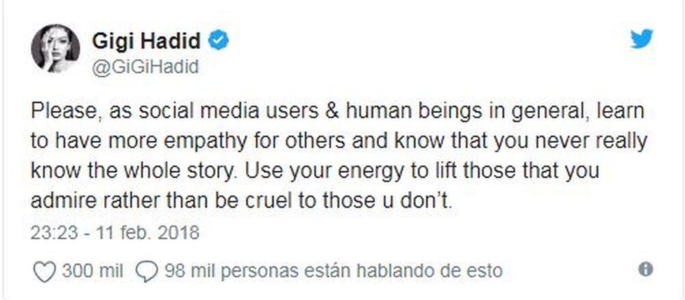 Twitter de Gigi Hadid