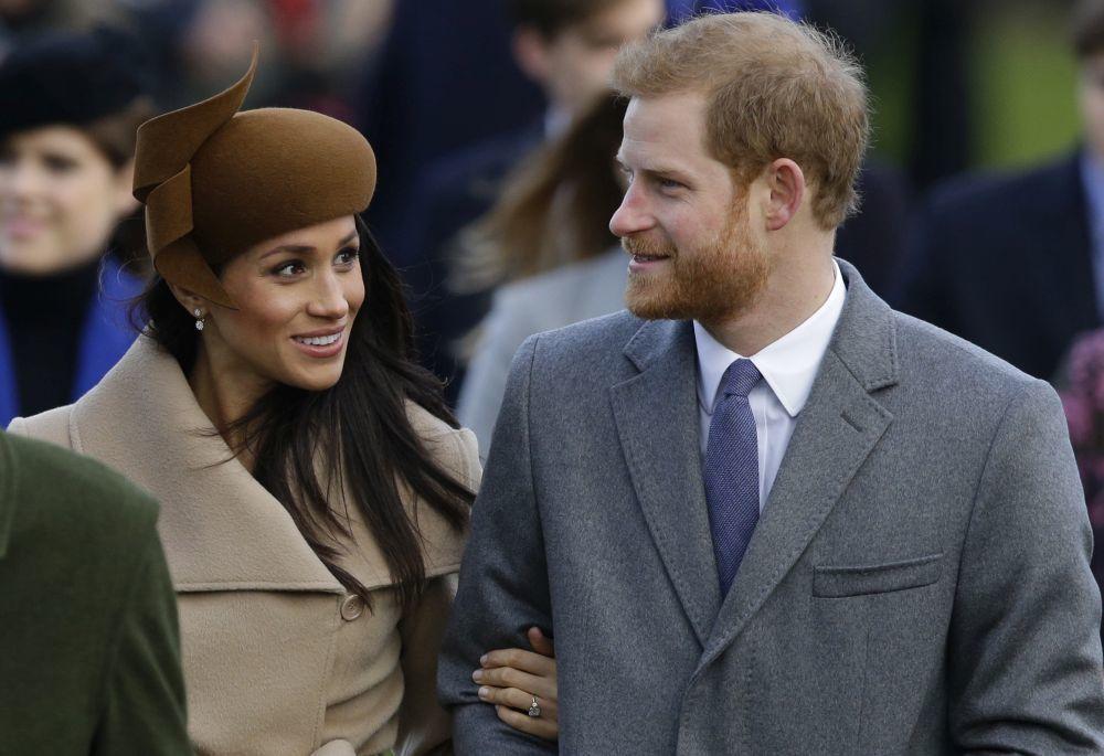 El príncipe Harry y Meghan Markle durante las celebraciones...