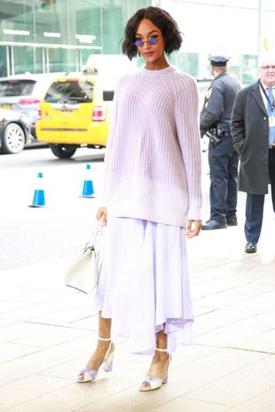Jordan Dunn en la semana de la moda de Nueva York