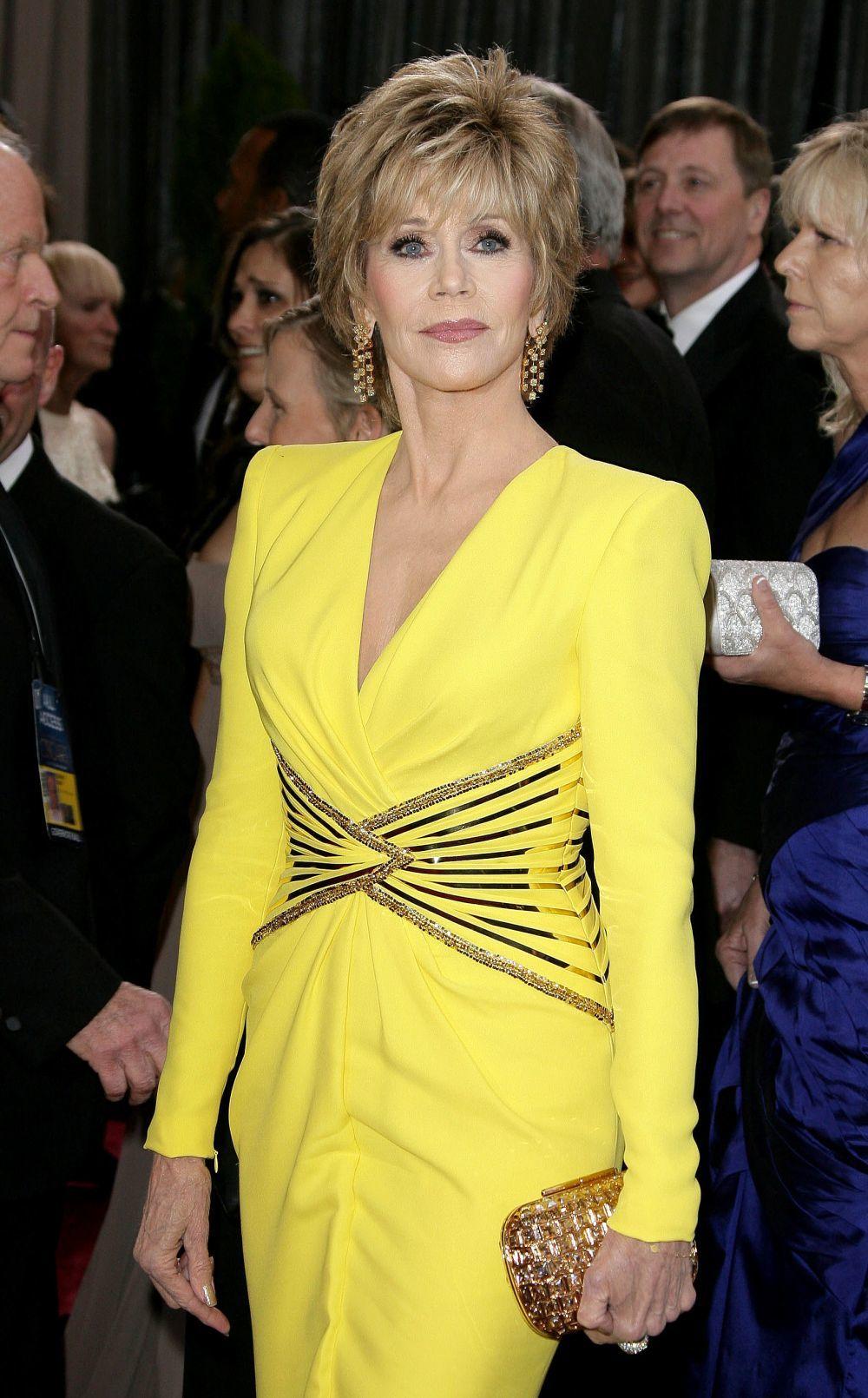 La mítica actriz Jane Fonda lució en 2013 un vestido de Versace en...