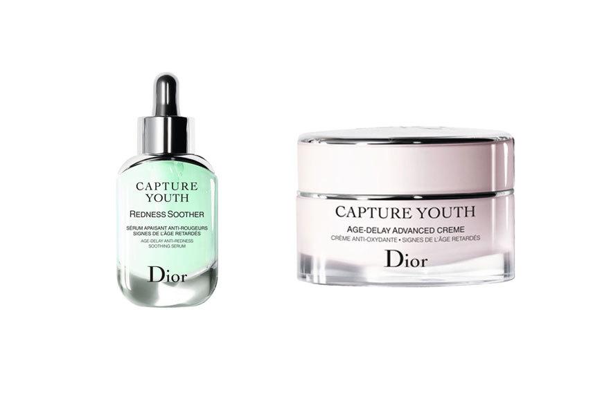 Sérum Redness Soother y crema hidratante Capture Youth, todo de Dior,