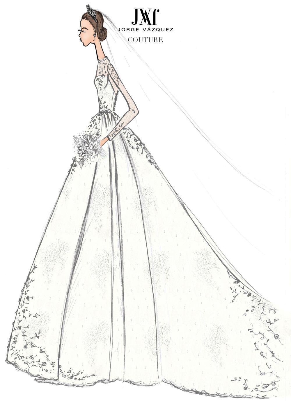 Boceto del vestido de novia de Jorge Vázquez para la ceremonia...