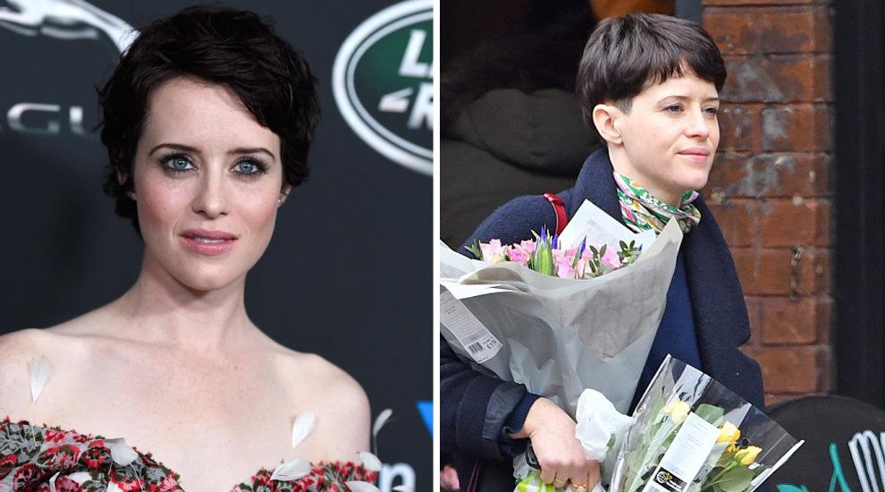 A la izquierda, Claire Foy con su anterior corte de pelo pixie y a la...