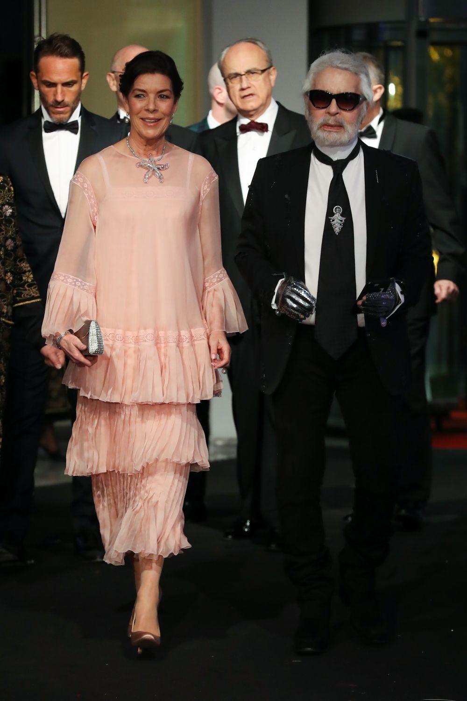 Carolina de Mónaco y Karl Lagerfeld en el Baile de la Rosa 2018.