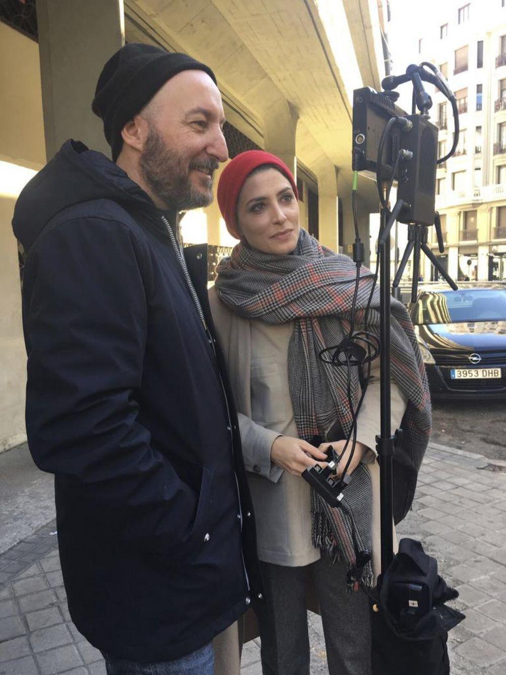 Bárbara Lennie y Diego Postigo durante el rodaje del corto.