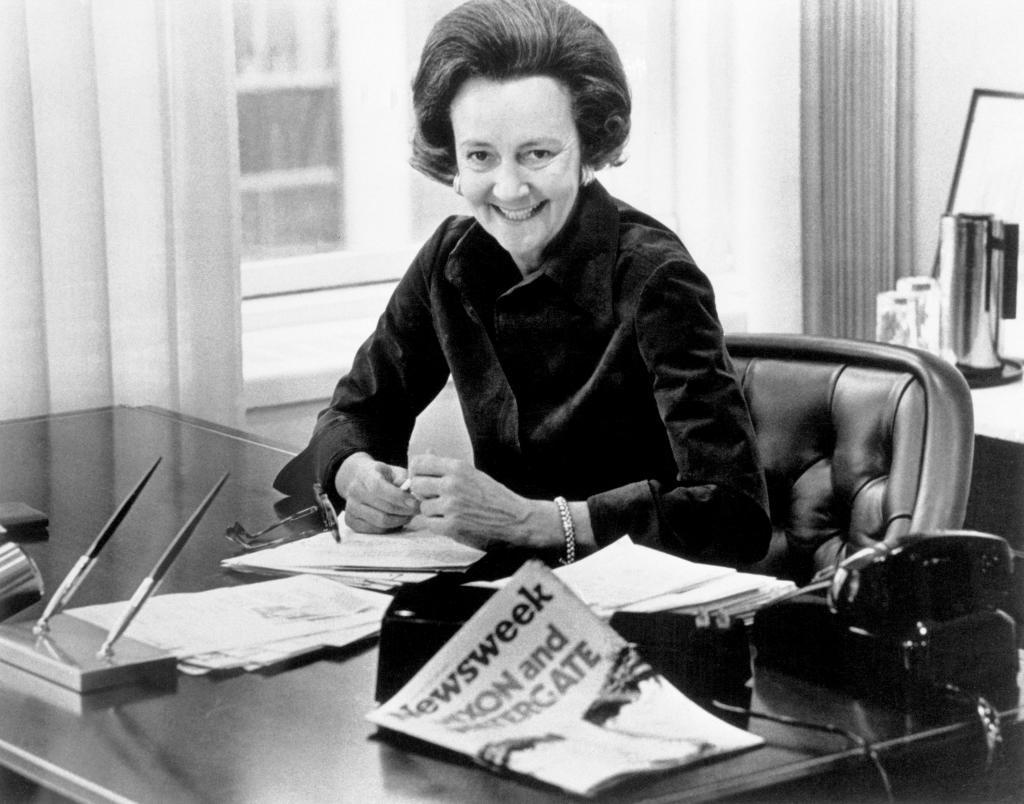 Katharine Graham en su despacho del Washington Post.