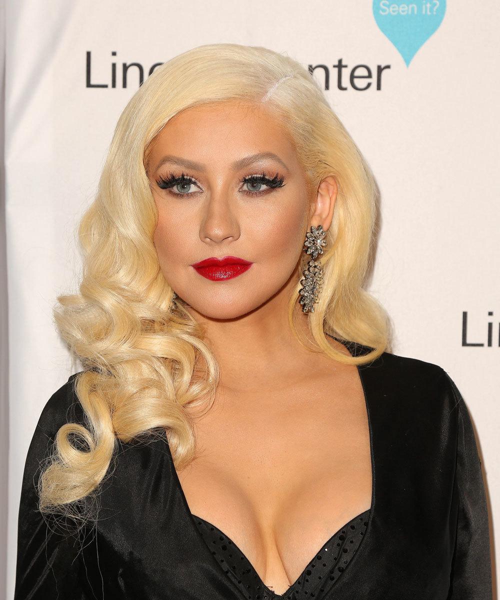 Christina Aguilera, con maquillaje.
