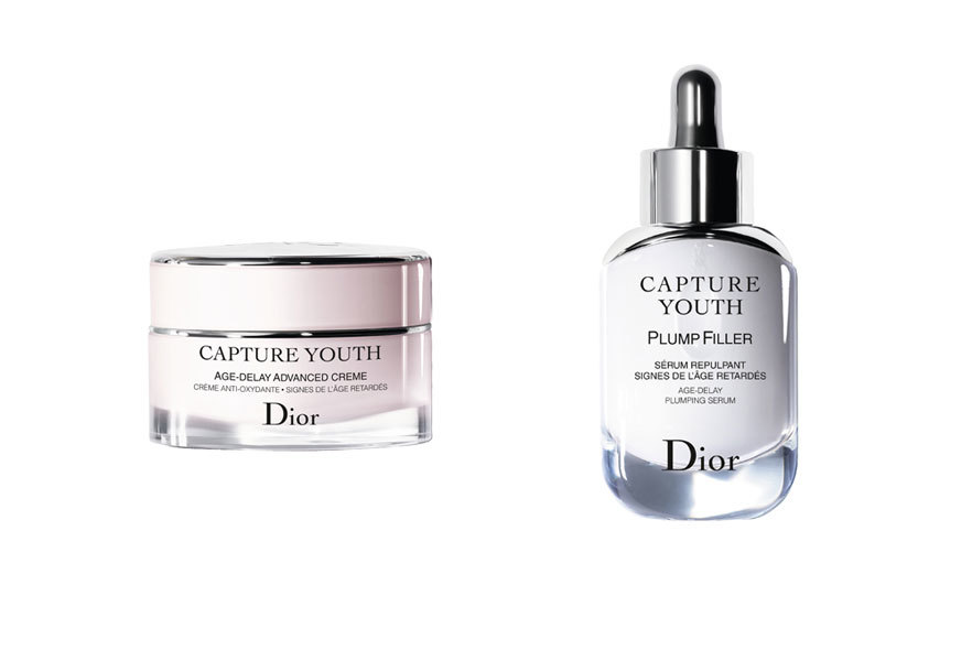 Crema hidratante Capture Youth y sérum Plimp Filler, todo de Dior.