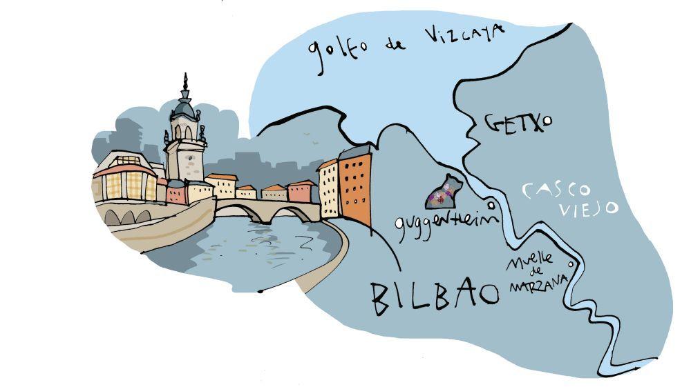 Ilustración de Bilbao y Getxo.