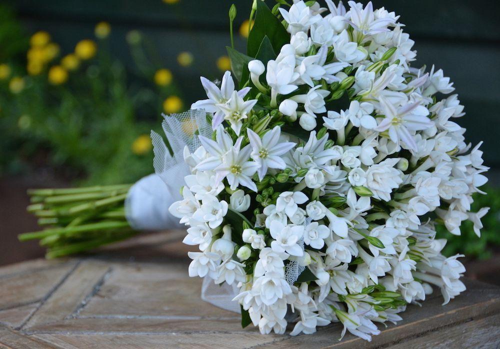 Ramo de novia compuesto por pequeñas flores blancas de Verde...