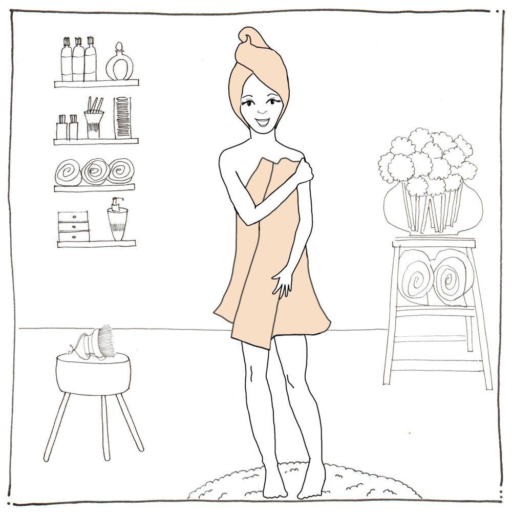 Secar a golpecitos. Con una toalla, para dejar la piel ligeramente...
