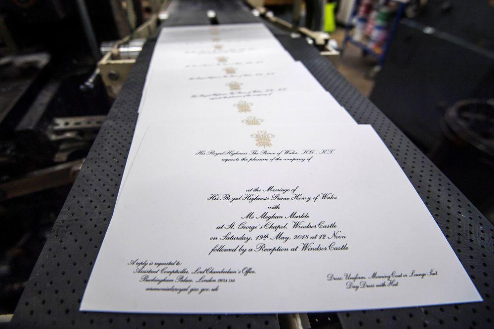 Las invitaciones de boda del príncipe Harry y Meghan Markle.
