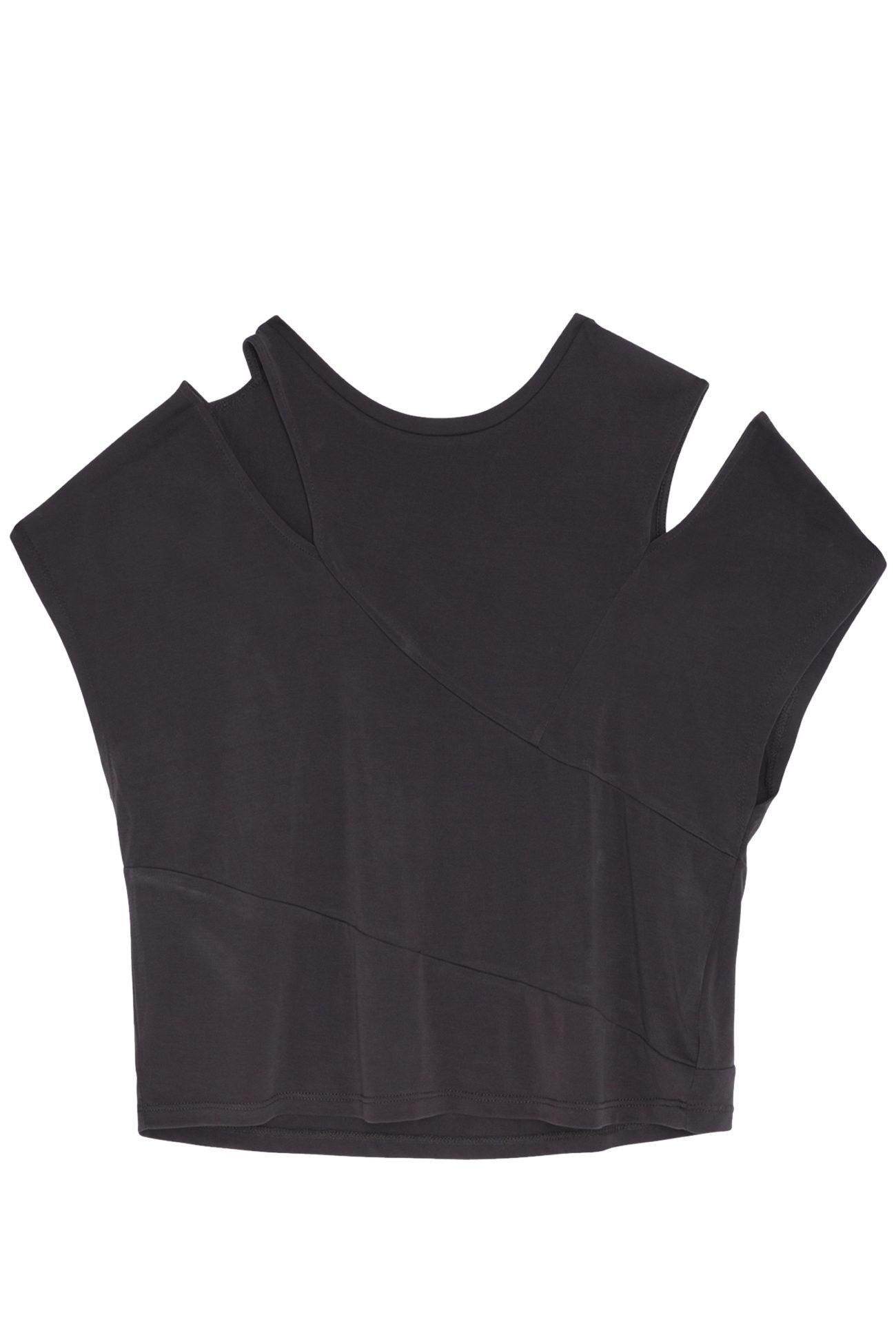 Camiseta de manga corta con aberturas en los hombros (15.99 euros).