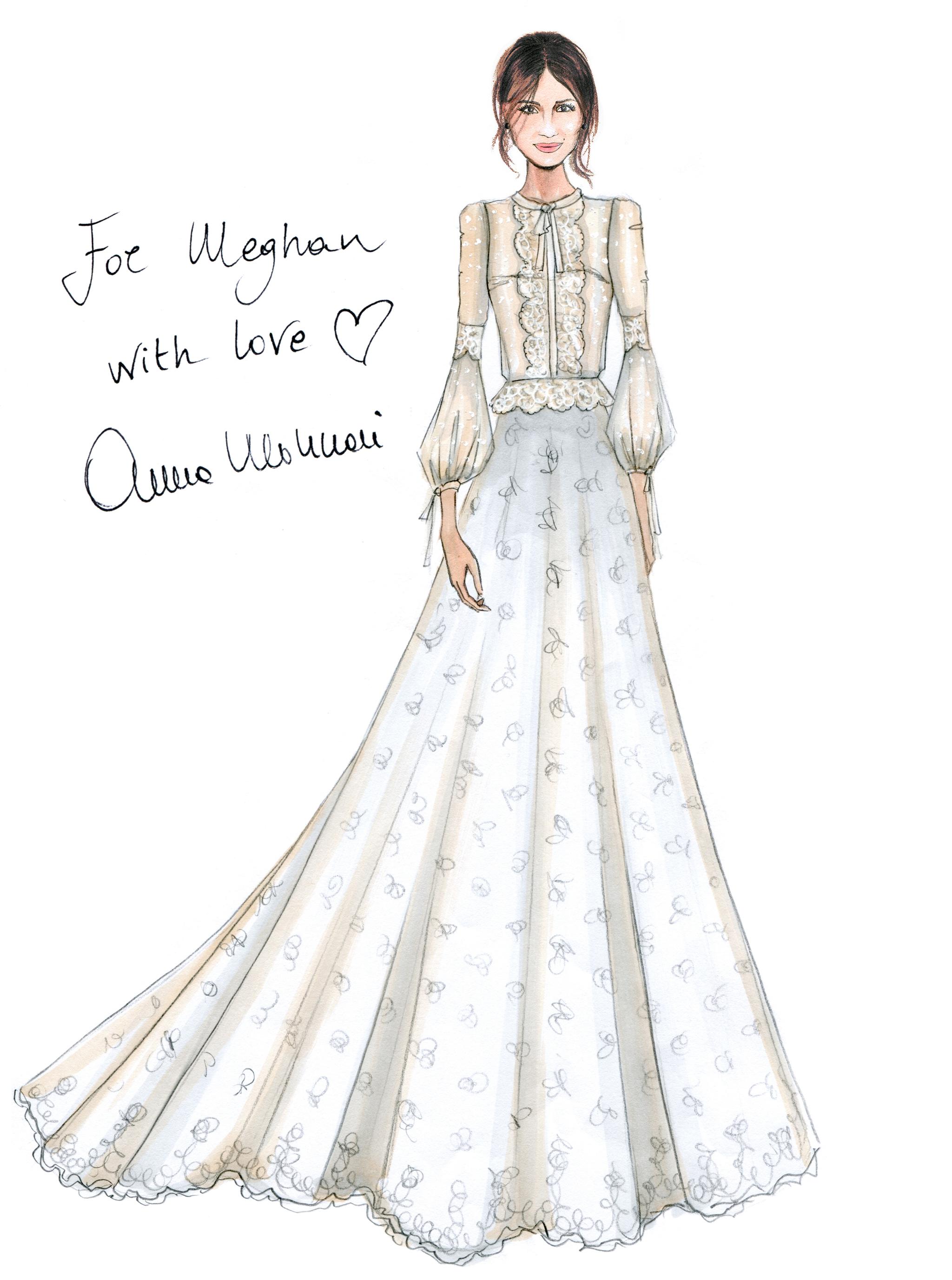 Boceto de la propuesta del vestido de novia de Meghan Markle, por...