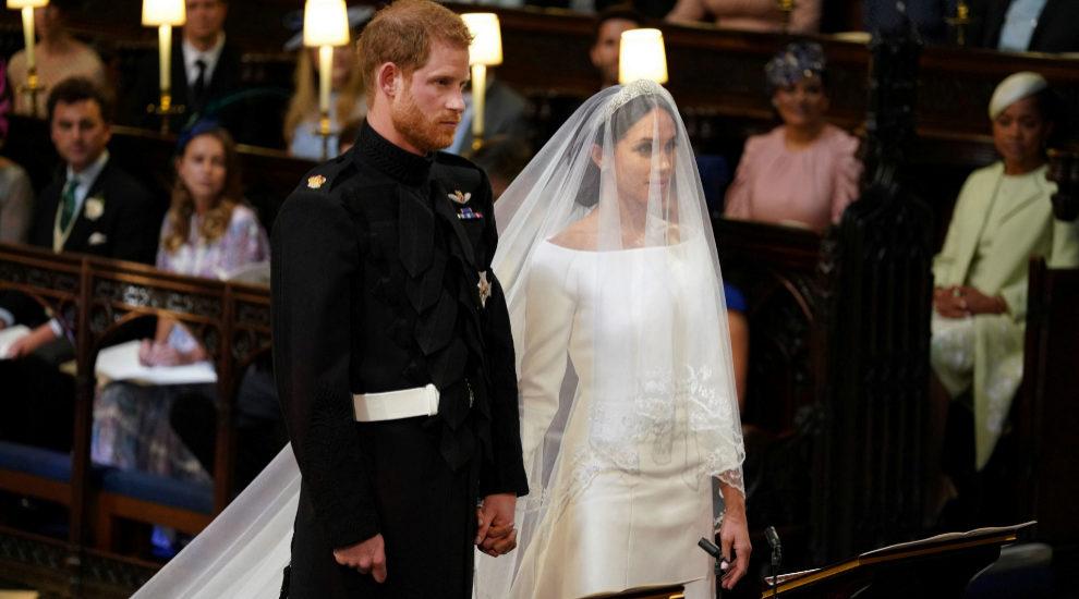 El príncipe Harry y Meghan Markle en la capilla de San Jorge del...