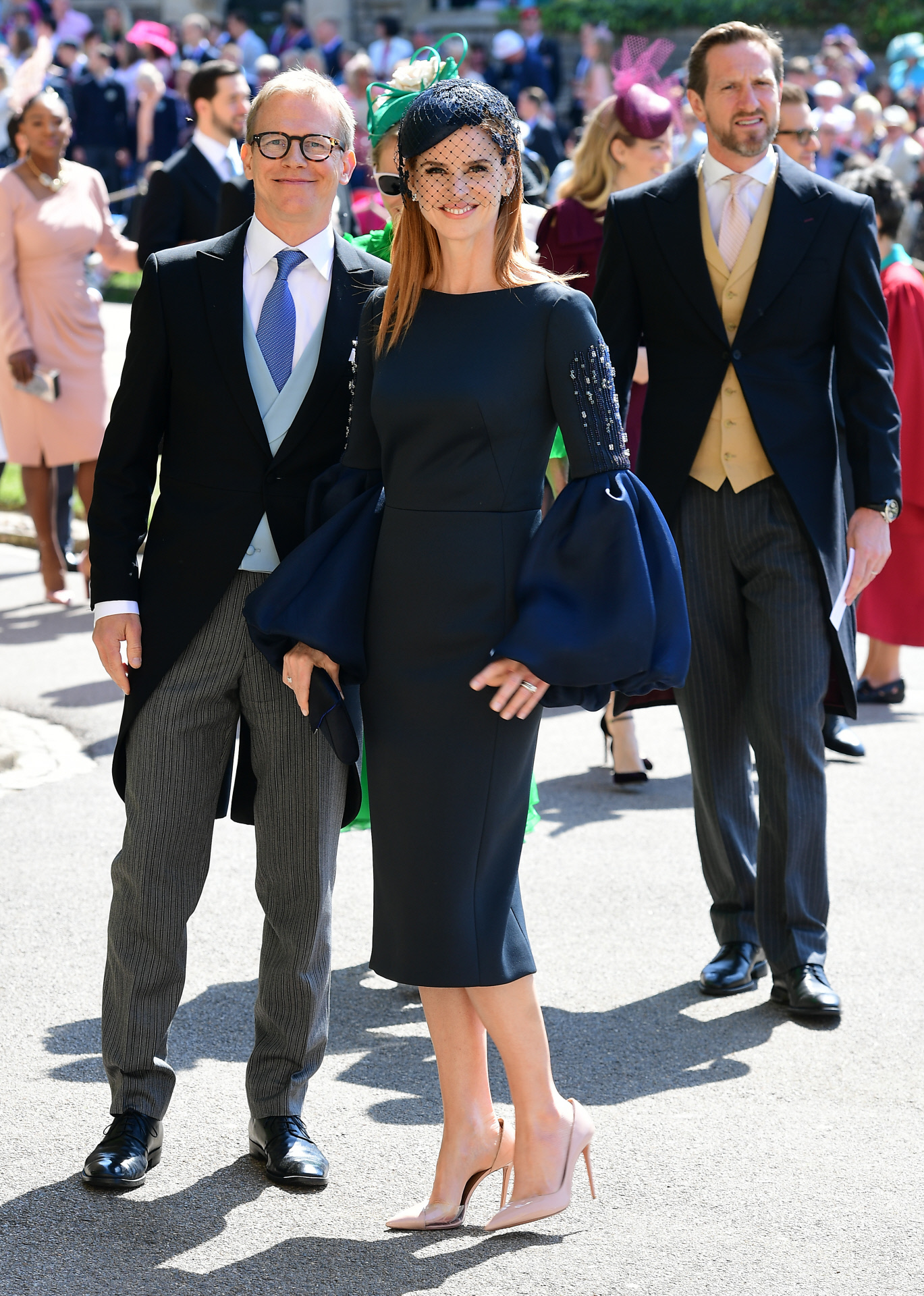 "Sarah Rafferty, del reparto de ""Suits"", junto a su esposo, Santtu..."