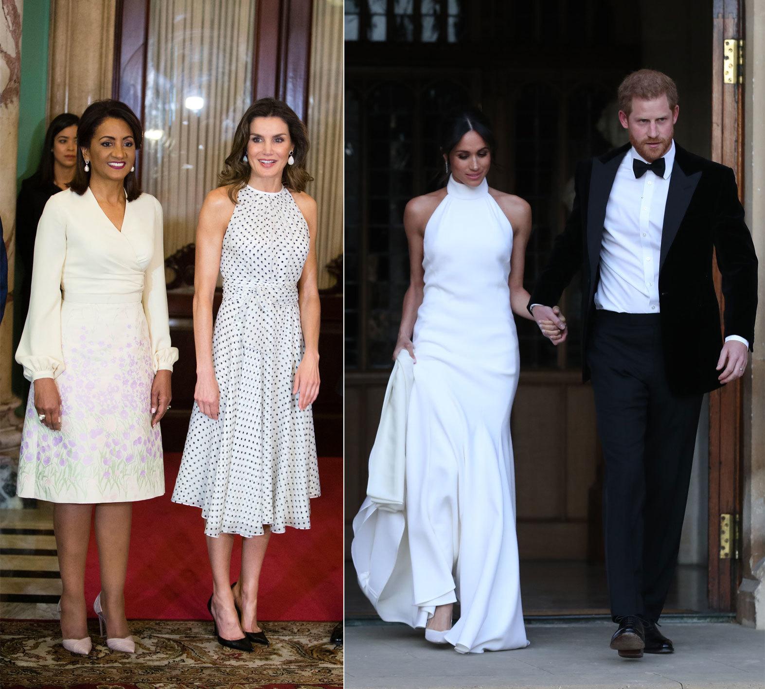 A la izquierda la Reina Letizia con el mismo escote halter que Meghan...