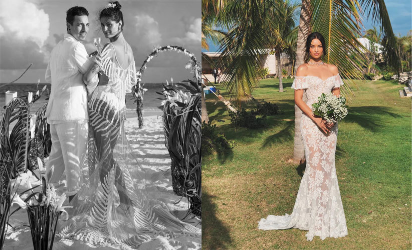 La modelo Isabeli  Fontana, con un vestido transparente de la firma...