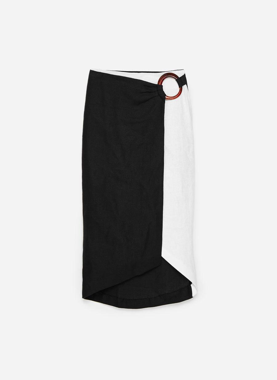 Falda bicolor de Uterqüe (99,00 euros).