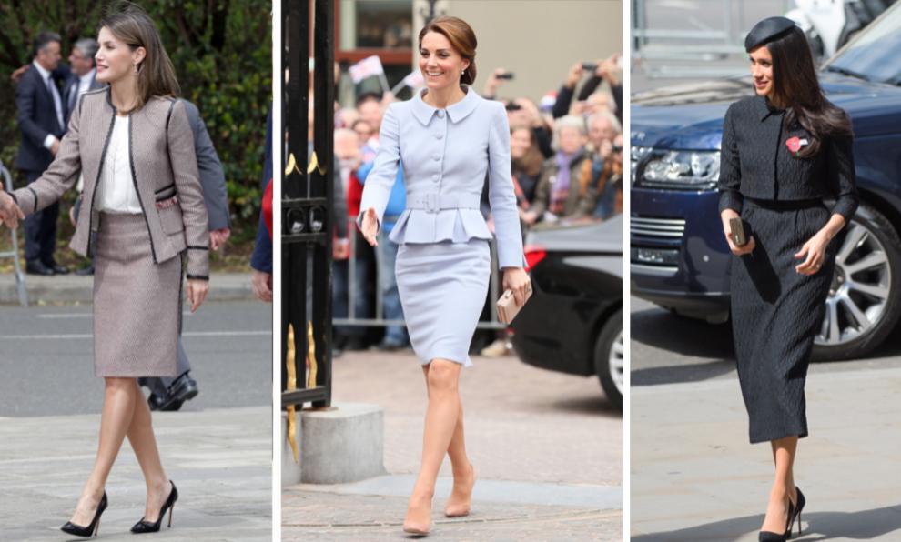 La Reina Letizia, Kate Middleton y Meghan Markle, tres versiones del...