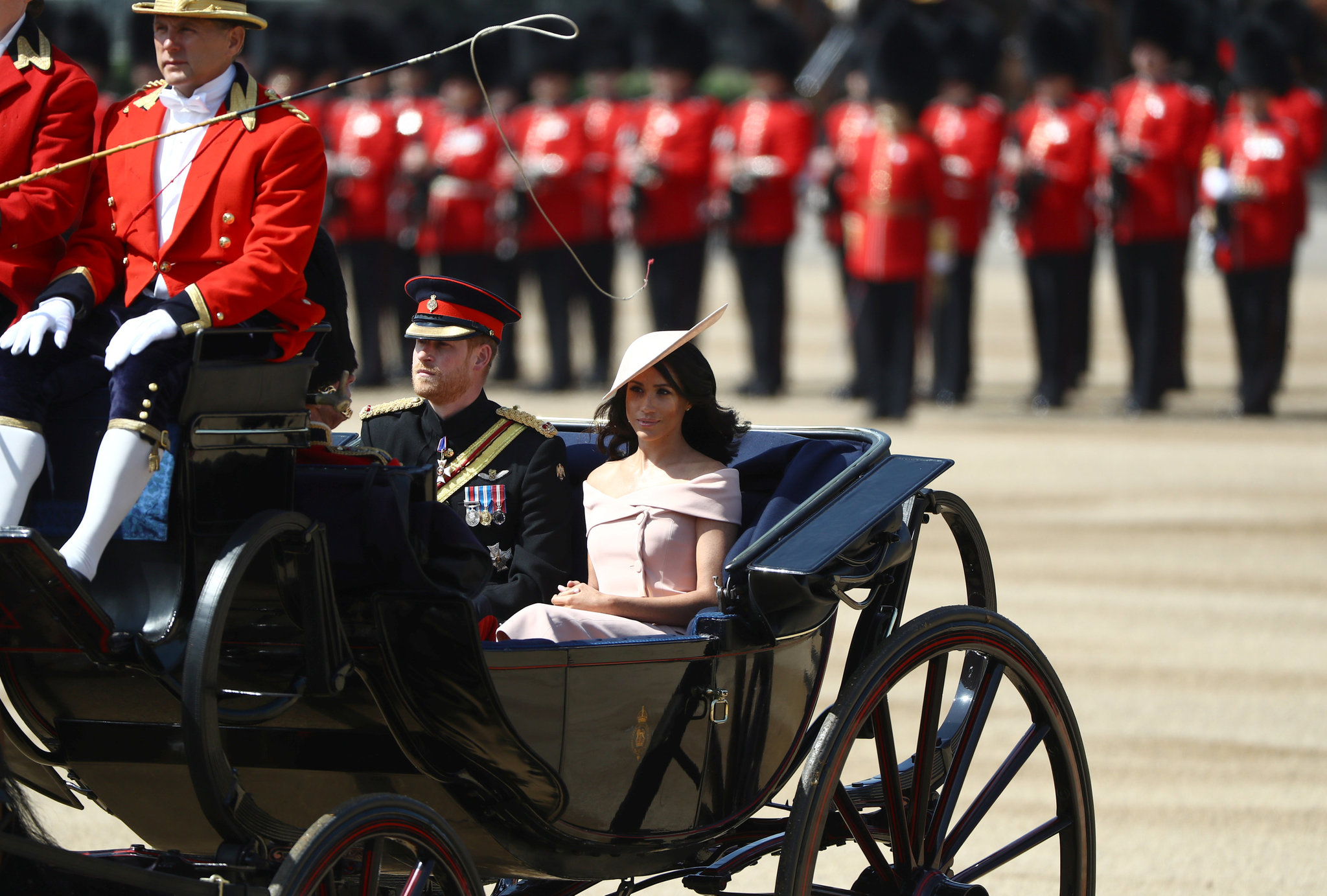 Meghan y Harry en el desfile militar de Trooping the Colour
