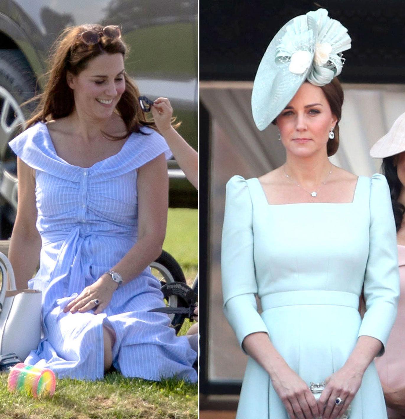 A la izquierda, la Duquesa un domingo de polo con un vestido midi de...