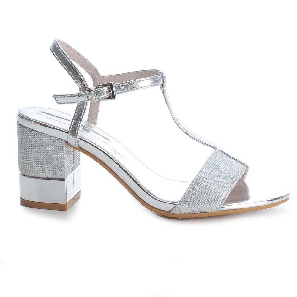 Zapatos De Tacón Sensato Sandalia Con Plateada Hebilla20 3jq4LcRS5A
