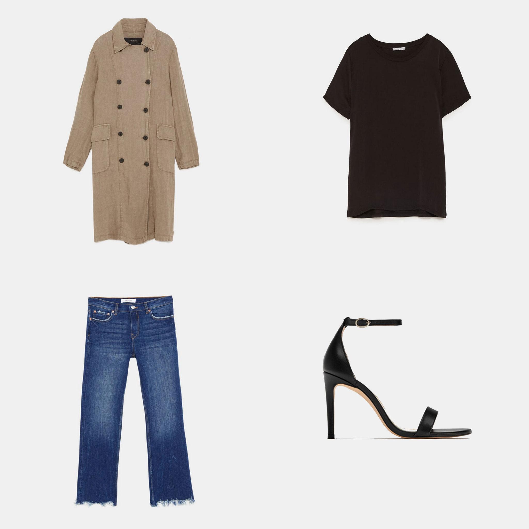 Gabardina de lino (49,95 euros), camiseta básica negra (9,95 euros),...