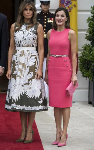 La reina Letizia con Melania Trump en la Casa Blanca