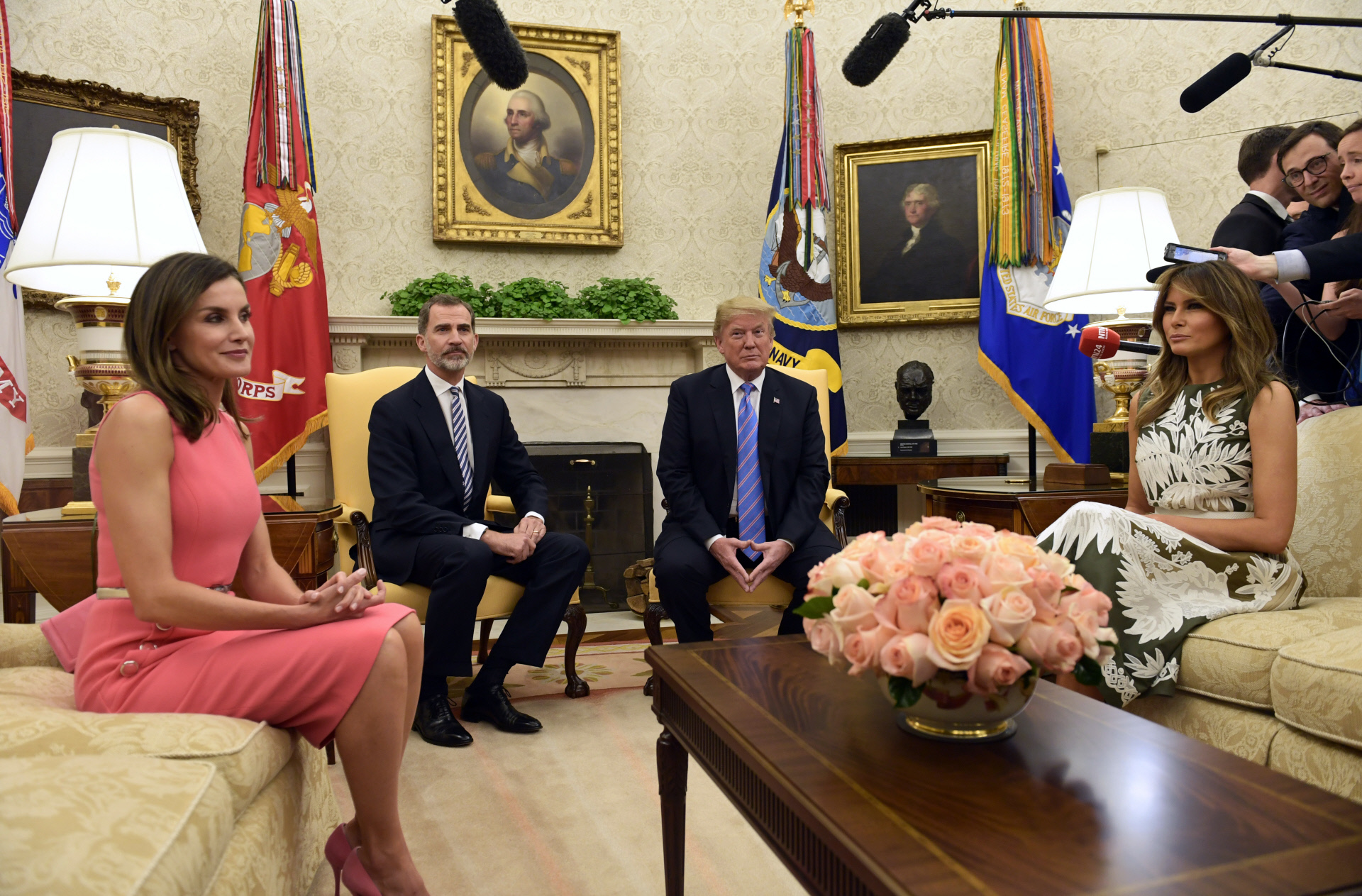 Los Reyes de España con los Trump en la Casa Blanca, Washington