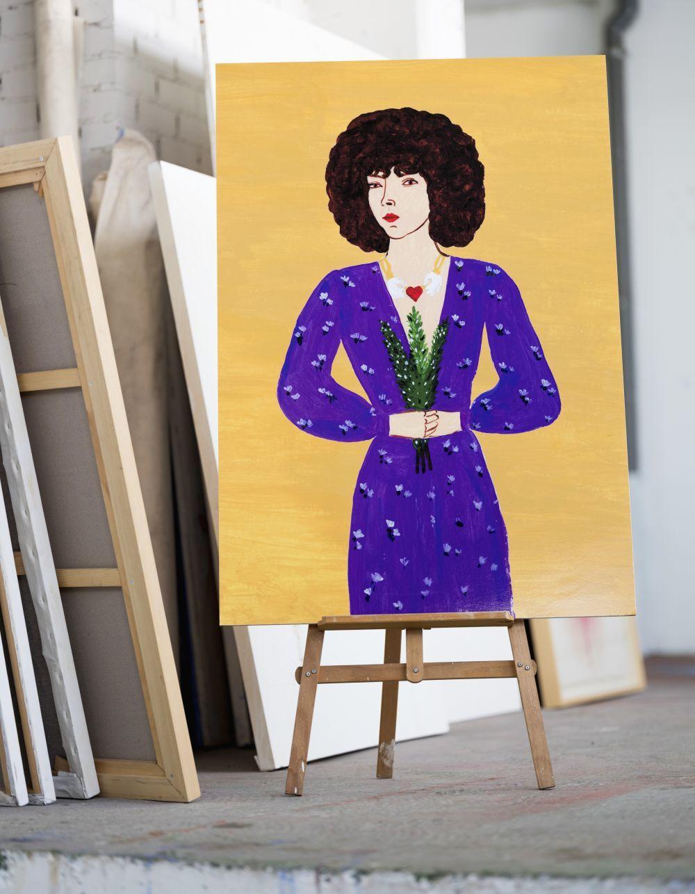 Autorretrato de Brianda donde se dibuja vestida con un look pre-fall...