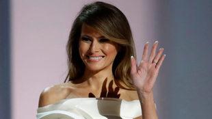Melania Trump en su toma de posesión como primera dama de los Estados...
