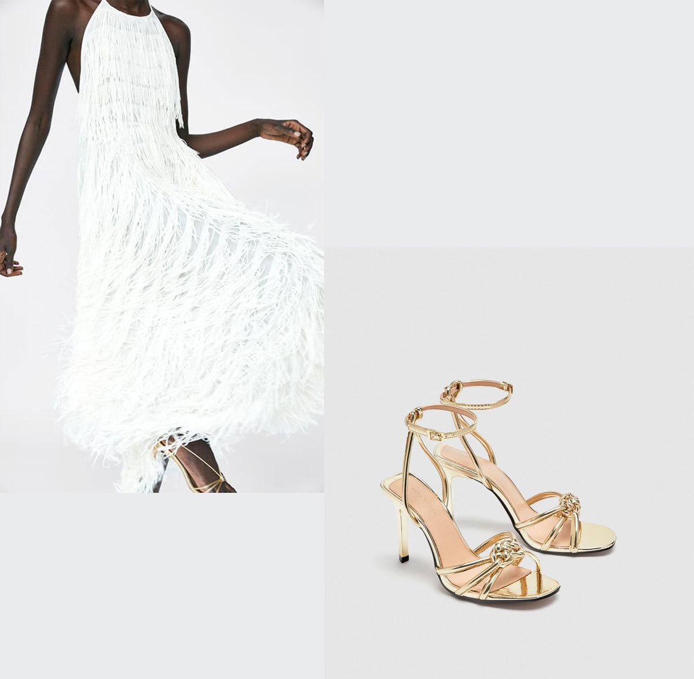 Vestido de flecos (15,95 euros) y sandalias de tiras (15,95 euros),...