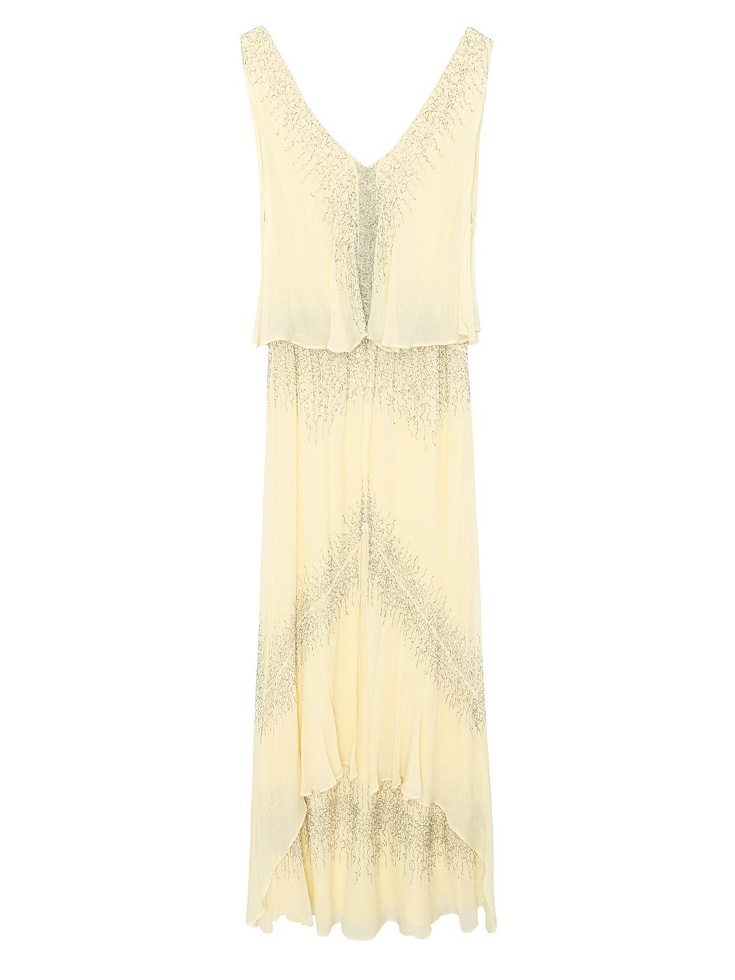 Maxi vestido con cuentas y capas solapadas (316 euros), de Intropia